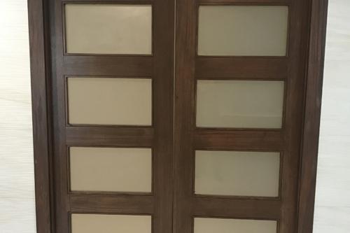 Mohagany Doors, install and stain